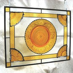 Vintage Sandwich Glass Stained Glass Plate Panel by HeritageDishes, $89.95