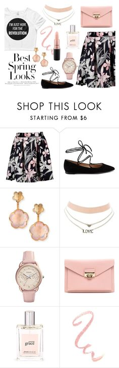 """""""A Spring Revolution"""" by wearyourdissent ❤ liked on Polyvore featuring H&M, Gianvito Rossi, Pasquale Bruni, Charlotte Russe, FOSSIL, philosophy, MAC Cosmetics and Theresistance"""