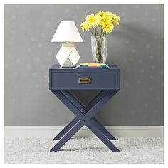 """Baby Relax Miles Campaign Nightstand - Blue : Target $150 , 25"""" tall, 20.75 wide, 18"""" deep"""