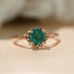 Natural Emerald Ring Rose Gold Ring Halo Engagement Ring Promise Ring Unique Engagement Ring Vintage Inspired Dainty