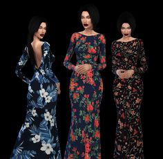Leo 4 Sims: Floral Backless Gown recolor • Sims 4 Downloads