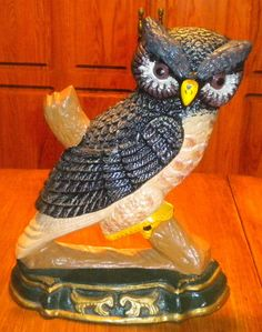 Vintage Large Painted Cast Iron Owl On Branch Doorstop