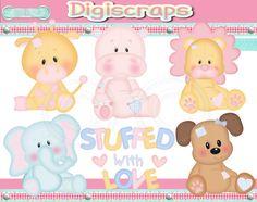 Stuffed with Love animal digital Clip Art Set by Digiscrapsau