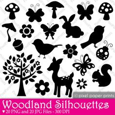 Woodland Silhouettes  ************************************************   (repin) - #Scherenschnitte #silhouettes #silhouette #printable ≈√