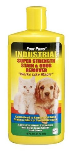 $14.98-$7.99 Four Paws Industrial Super Strength Pet Stain & Odor Remover (16 oz.) - This stain & odor remover has been clinically formulated to not only remove & deodorize pet stains/odors, but also household such as; coffee, dirt/mud, red wine & the like. 16oz. (473ml)16 oz. http://www.amazon.com/dp/B001EUEAVK/?tag=pin2pet-20