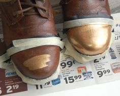 (studs and pearls): shoe diy: Gold Tip Combat Boots (silver toe or studs?)