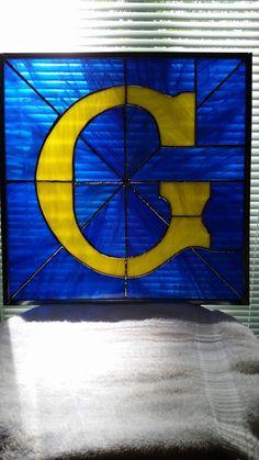 Stained glass letter G. Blue and yellow. Stained Glass Patterns, Stained Glass Art, Mosaic Glass, Prince Hall Mason, Freemason Symbol, Masonic Art, Tiffany, Original Art, Arts And Crafts