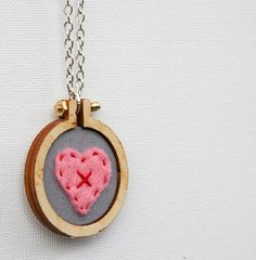 LOVE HEART mini embroidery hoop necklace  unique by dandelyne, $35.00