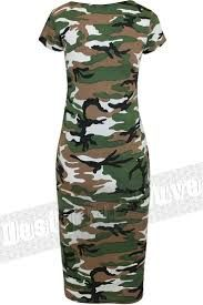 8c7d2bdc8c3 New Ladies Neon Pink Camouflage Midi Dress Womens Camo Army Green Short  Sleeve