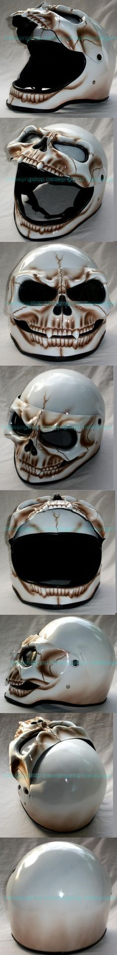 Flip up Face Shield Skeleton Full face Motorcycle Helmet - Diana`s Custom Design