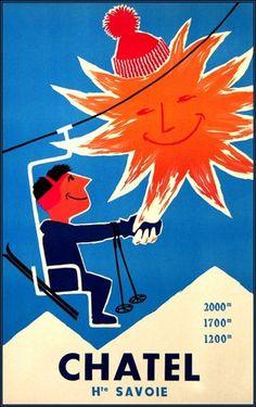 vintage ski poster - Châtel Haute Savoie France 1950