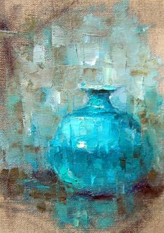 Oil Sketch of Blue Vase, painting by artist Julie Ford Oliver