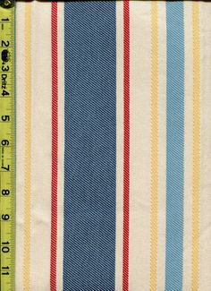 Stripes img9226 from LotsOFabric.com! Take a trip to the islands with this bright and fun stripe. This fabric is great for drapery or upholstery. Lend a light look with primary red, blue, and yellow! Order swatches online or shop the Fabric Shack Home Decor collection in Waynesville, Ohio. #drapery #upholstery #bedding #throw #pillow #interior #design #home #decor