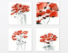 Red Poppy Print Set 8x8 watercolor gift for her abstract floral art for kitchen sister best friend on Etsy, $69.00
