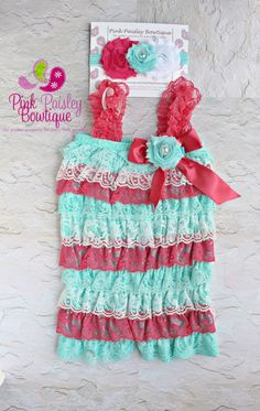 Coral Mint and White Petti Romper Lace by Pinkpaisleybowtique, $34.99