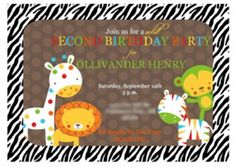 Zoo themed birthday party invite