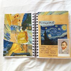 Image discovered by shahina 🖤. Find images and videos about inspiration, van gogh and journaling on We Heart It - the app to get lost in what you love. Bullet Art, Bullet Journal Art, Art Journal Pages, Journal Ideas, Heart Journal, Artist Journal, Kunstjournal Inspiration, Sketchbook Inspiration, Bullet Journal Inspiration