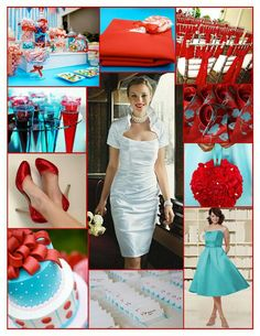 Aqua and red wedding inspiration