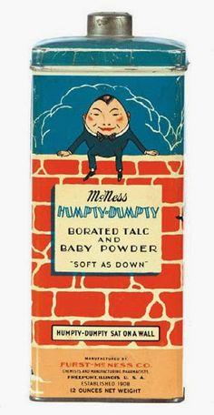Vintage talc tins- Humpty-Dumpty Sat on A Wall