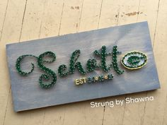 """Custom ordered board for a wedding gift - measures 24"""" x 10"""". #stringart #packers  Facebook.com/strungbyshawna String Art, Packers, Diy Christmas, Wedding Gifts, Arts And Crafts, Facebook, Create, Board, Design"""