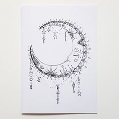 Hand Drawn La Lune Moon Birthday Card