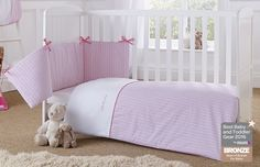 Pink Scandinavian Barley Bébé Cot Bedding. The perfect centre-piece to a little girl's nursery. The beautiful pink quilt and bumper set is inspired by the Scandinavian nursery décor trend. Check out the full collection!