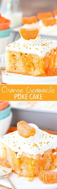 Orange Creamsicle Poke Cake - a moist vanilla cake soaked in orange jelly and topped with whipped cream! Orange Creamsicle Poke Cake - a moist vanilla cake soaked in orange jelly and topped with whipped cream! Brownie Desserts, 13 Desserts, Oreo Dessert, Delicious Desserts, Baking Desserts, Summer Desserts, Baking Recipes, Orange Creamsicle, Creamsicle Cake
