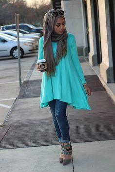 bright blue aqua hijab tunic- Hijab looks by Sincerely Maryam http://www.justtrendygirls.com/hijab-looks-by-sincerely-maryam/
