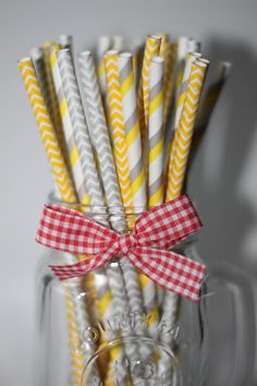25  Multi pack Gray Yellow  chevron striped  paper straw// party straws// wedding bridal baby shower// gender reveal on Etsy, $4.25