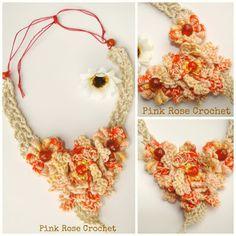 PINK ROSE CROCHET: Colar com Flores Joli Orange Necklace