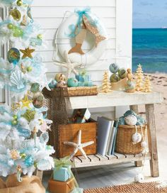 ocean styles beach decor - for Christmas time Coastal Christmas Decor, Nautical Christmas, Tropical Christmas, Beach Christmas, Blue Christmas, Coastal Decor, Christmas Holidays, Christmas Decorations, Christmas Ornaments