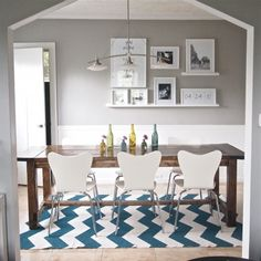 Grey dining room, farm table, chevron rug