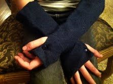 hand warmers made from recycled wool sweaters.