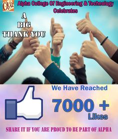 Alpha college of Engineering & Technology feels proud and thankful to all those who made the www.facebook.com/alphacet.official page reach a milestone of 7000+ likes. ‪#‎proud‬ ‪#‎milestone‬ ‪#‎support‬ ‪#‎likes‬#education ‪#‎dream‬ ‪#‎platform‬ ‪#‎thumb‬ ‪#‎find‬ ‪#‎subscribe‬ ‪#‎social‬ media ‪#‎follow‬ ‪#‎friends‬ ‪#‎page‬ ‪#‎online‬ ‪#‎chat‬ ‪#‎feed‬ ‪#‎alpha‬ ‪#‎engineering‬ ‪#‎technology‬ ‪#‎khatraj‬ ‪#‎gujarat‬