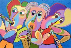 Zeefdruk Trio de conciertos van Twan de Vos, drie muzikanten geven zonnig concert