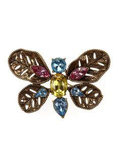 oscar dela renta brooches   Oscar De La Renta Multi Stone Butterfly Brooch in Multicolor (russian ...