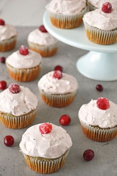 Enjoy a new spin on cupcakes with this healthier cranberry cupcake recipe! It's made with canned cranberry sauce and topped with a cranberry cream cheese frosting for a sweet, but not too sweet, dessert. Healthy Cream Cheese Frosting, Cream Cheese Desserts, Cupcakes With Cream Cheese Frosting, Healthy Dessert Recipes, Sweet Desserts, Cupcake Recipes, Canned Cranberry Sauce, Cranberry Cheese, Cupcake Decorating Tips