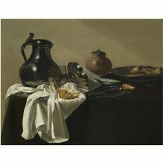 Jan Jansz. den Uyl de Oudere: stilleven met tinnen kan, een tazza op zijn kant, een broodje, een krab op een tinnen bord en andere voorwerpen op een tafel met groen tafelkleed. Eerste helft 17e eeuw. Sotheby's, Londen.