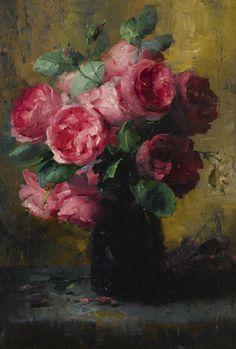 Frans Mortelmans (Belgian, 1865-1936) Pink Roses in a vase, oil on canvas, 50,8 x 35,6 cm.