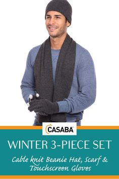 c8dcef4fb530a1 Casaba Winter 3 Piece Set Beanie Hat Scarf Touchscreen Gloves Cable Knit  for Men Women