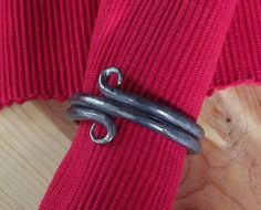 2 inch rat tail loop hand forged brushed finish napkin rings ~ Blacksmith hand made.