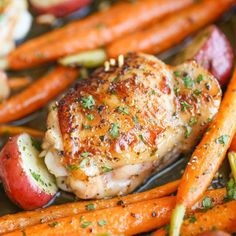 Crisp-tender garlic Ranch chicken baked to absolute perfection with roasted carrots and potatoes all cooked in a single pan. It's so easy.