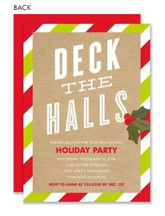 Deck the Halls Mistletoe Invitation #holiday #party #invitation