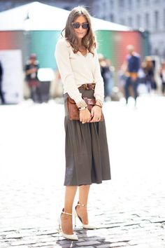 We love a mid-length skirt with ankle-strap pumps (and so does Olivia Palermo) #streetstyle