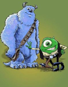"""Monster Inc."" meets ""Star Wars"" (Sulley as Chewbacca & Mike as Han Solo)"