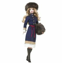 Barbie Dolls of The World Russia Barbie Doll by Mattel. $89.99. Featuring blue coat with gold buttons, tan and white embroidered trim, red rope belt and knee-high black button boots, fur hat, and hand warmer. Russia Barbie doll captures the spirit of Moscow. Barbie Dolls of the World Collection. For the adult collector. Dressed in a traditional Russian winter dress. From the Manufacturer                Barbie Dolls of the World Russia Barbie Doll Pink Label Collection: ...