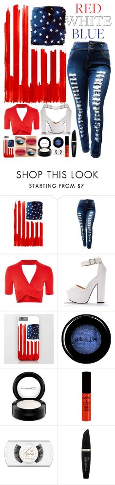 """""""4th of July Outfit"""" by grey-eyed-freak ❤ liked on Polyvore featuring Monde Mosaic, Topshop, Stila, MAC Cosmetics, NYX and Max Factor"""