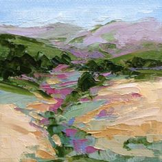 """""""Landscape One"""" original palette knife oil painting on 4"""" x 4"""" canvas panel with mini easel. Sold to an art lover."""