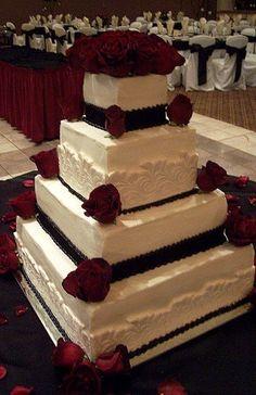 Trifles' Lace, Black & Deep Red Rose wedding cake