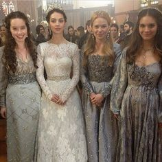 Beautiful time costumes.  Monique Lhuillier wedding gown worn on Reign.